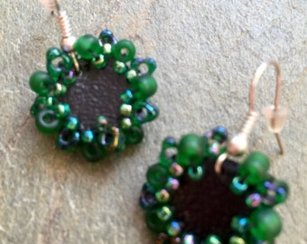 Spring Jewelry Green Embellished Black Pleather Earrings Handmade in Chicago by VZuniga Designs