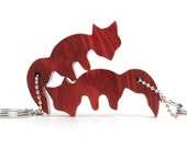 Matched Foxes Key Chains Wood Fox Keychain Pair Redheart Hand Cut Wood Scroll Saw