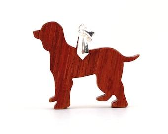 Irish Water Spaniel Pendant, Dog Breed Necklace, Wood Spaniel Necklace, Spaniel Jewelry, Jatoba