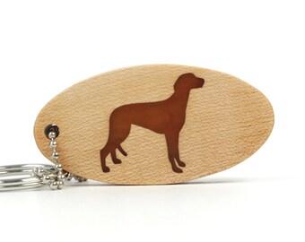 Greyhound Key Chain Wood Dog Breed Key Chain Greyhound Key Ring Pet Greyhound Key Fob Scroll Saw Dog Key Chain Cherry