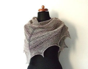 wool shawl, knitted triangle shawl, brown oatmeal with pinkish stripes, eco scarf