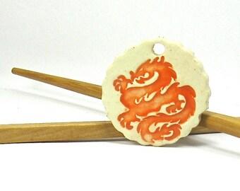 Ceramic Pendant, Stoneware Pendant - Chinese Dragon Pendant in Orange and Cream (OOAK Focal Pendant, Keychain, Ceramic Gift Tag, Necklace)