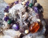 Honey calcite, green pyrite, sugalite, and amethyst- bracelet handmade with love