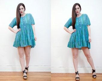 Vintage  Aztec Indian Cotton Indian Gauze Boho Dress Hippie Dress Ethnic Cotton Mini Dress 70's