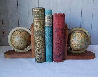 Vintage World Globe Bookends