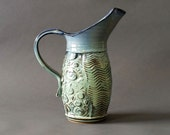 Large Water Pitcher with Curved Spout Unique Style Richly Textured OOAK