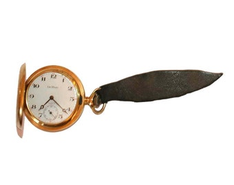 Vintage Antique Gold Pocket Watch Le Marc Plaque G 10 Leather Strap