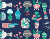 Crib Sheet - Navy Succulents - Fitted Crib Sheet