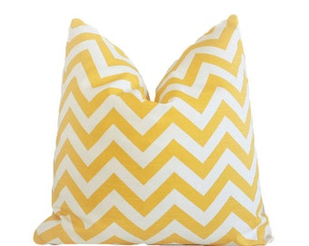 SALE Yellow Chevron Pillow Cover