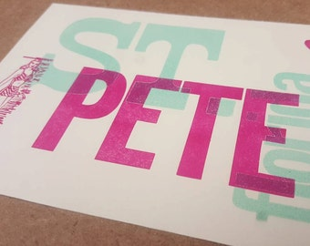 St. Pete Florida // letterpress postcard