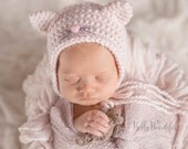 Newborn Baby Girl Photo Prop Hat - Kitty Cat Bonnet with Tiny Mouse Toy - Pastel Pink