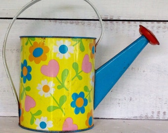Vintage 1960's Ohio Art Childs Toy Tin Flower Power Hippie Style Watering Can