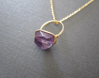 Amethyst Gold Ring Pendant Necklace