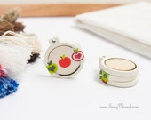cream mini embroidery hoop 1 inch tiny miniature decorative earring pack