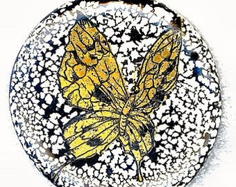 Gold Butterfly on Black Lace on Large Porcelain Button