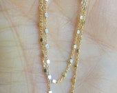 """18K Gold Vermeil beaded, finished cable satellite chain with sterling silver square balls , Gold plated  sterling silver,16"""" or 18"""" options"""