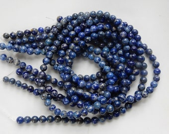6mm Natural  Lapis lazuli round  beads , full strand
