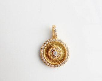 Gold Vermeil  Round pendant  with cz (12.3x14.3mm) gold plated sterling silver, gold round charm
