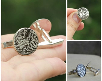 Custom FingerPrint Cuff Links, Fathers Day Gift, Gift For Husband, Custom FingerPrint Cuff Link, Gift For Dad, For Men, Finger Print Jewelry