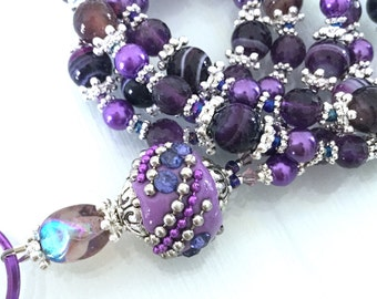Deep Purple, Agate, Glass Pearl, Breakaway, ID Lanyard