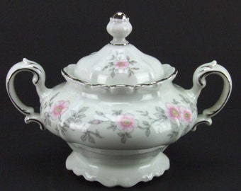 Johann Haviland Louise Sugar Bowl Bavaria Germany Pink Gray Platinum