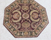 Miniature Rug Octagon Burgundy Olive and Gold in Several Sizes