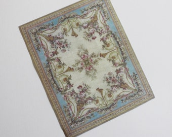 1:12 Scale Shabby Blue With Roses French Aubusson Dollhouse  Miniature Rug