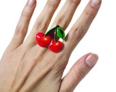 Rockabilly Double Cherry Resin Adjustable Statement Ring