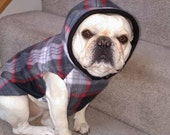 French Bulldog Gray, Red, and  Black Plaid Fleece Hoodie