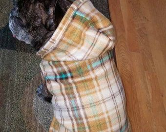 French Bulldog Tan Plaid Checked Fleece Hoodie