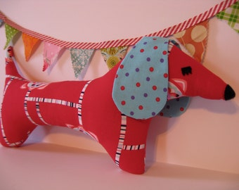 Dachshund Weiner Dog Patchwork Stuffed Plush Toy