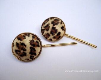 Vintage earrings hair slides - Animal print wild leopard faux fake fur fun girl bohemian chic unique embellish decorative hair accessories
