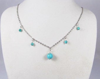 Turquoise Statement Necklace-silver-necklace-beaded