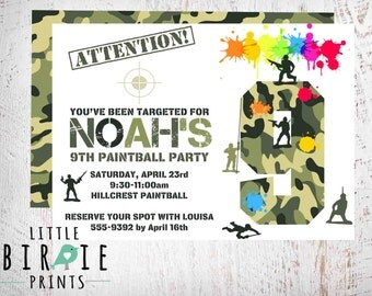 PAINTBALL INVITATION Paintball birthday invitation Paintball Party Invitation Paintball printable invitation Camo