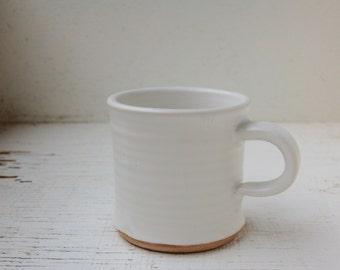 Coffee Mug 10 oz Tea Cup Handmade Ceramics and Pottery Mug in Satin White