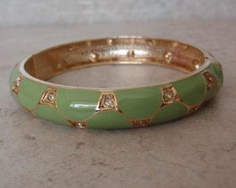 Lime Green Bangle Bracelet Rhinestones Enamel Hinged Vintage 043016LV