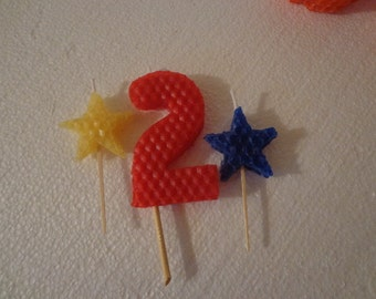 Beeswax Birthday Candle with Stars