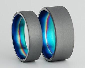Titanium Rings , Wedding Bands , Titanium Wedding Band Set , Titanium Wedding Ring Set , Promise Rings , The Aurora Bands