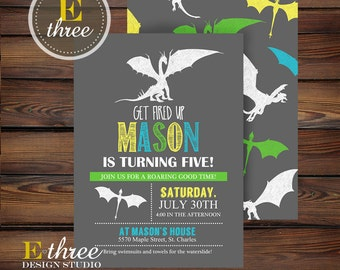 Dragon Birthday Party Invitations - Boy's Birthday Party Invitation - Yellow, Turquoise, Gray, Green
