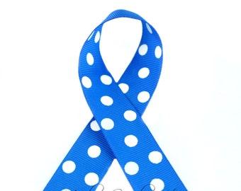 Royal Polka Dots 7/8 inch Polka Dot Grosgrain Ribbon - Polka Dot Ribbon, Polka Dot Hair Bow, Polka Dot Bow, Ribbon By The Yard