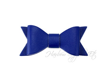 Blue Faux Leather Bows 2-1/2 inches- Blue Leather Bow, Blue Leather Hair, Blue Faux Leather, Blue Leather Bow Headband, Blue Leather Bow Tie