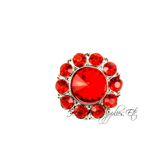 Rhinestone Buttons Red Elegance 21 mm Acrylic Buttons - Hairbow Supplies, Etc.
