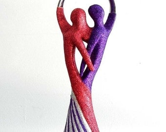 CLEARANCE SALE Red and Purple Glitter Intertwined Man and Woman Wedding Cake Topper