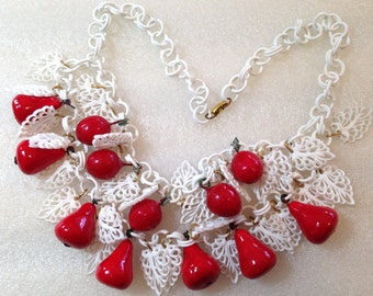 Vintage celluloid  and papier mache' pears necklace
