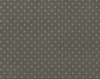Heather Bailey - Lottie Da - Lottie Dot in Charcoal gray purple polka dot mini dot pin dot - cotton quilting fabric - choose your cut