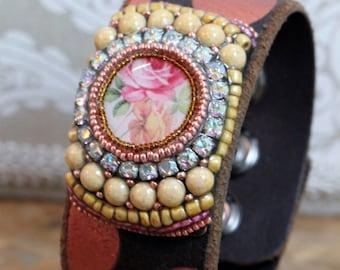 Mosaic Cuff bracelet, leather cuff bracelet, polka dots
