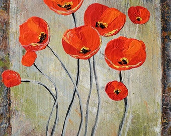 ORIGINAL Oil Painting on canvas Palette Knife painting Colorful Flowers painting Red Poppies Romantic ready to hang modern art Marchella