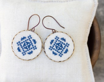 Cross stitch dangle earrings, hand embroidered statement earrings e021