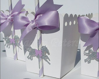 Birthday Favors, Merry Go Round Theme, Lavender And Silver, Glitter Pony, Popcorn Boxes, Carousel Party Supply, Girls Baby Shower, Set Of 12