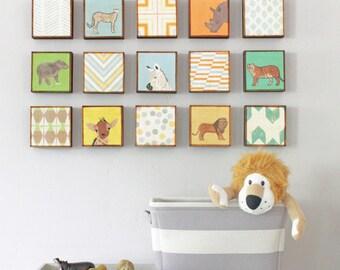Safari Nursery Art - choose 15 art blocks designs- gender neutral baby, animal prints, zebra, giraffe, nursery decor, redtilestudio